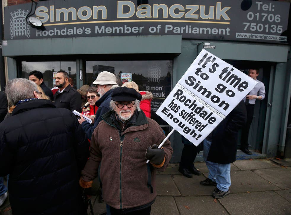 Protesters outside Simon Danczuk's constituency offices