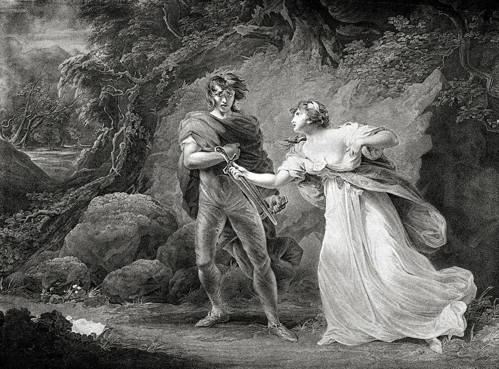 William Shakespeare 's play Cymbeline - Act III Scene IV: Pisanio and Imogen.