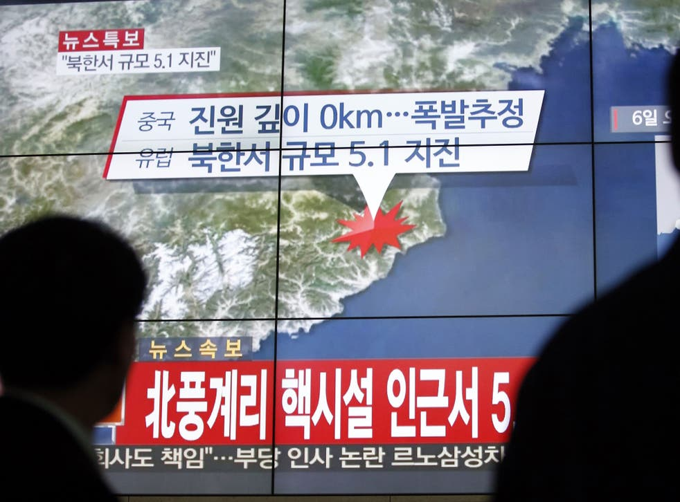 Screens in Seoul show the earthquake near North Korea's nuclear facility