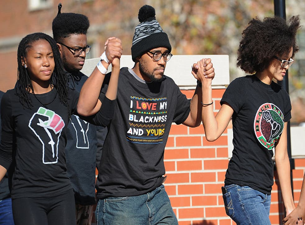 Missouri student, Jonathan Butler, greeted by crowds of students on campus after a 7-day hunger strike in November 2015. Racial tensions have been growing on US campuses.