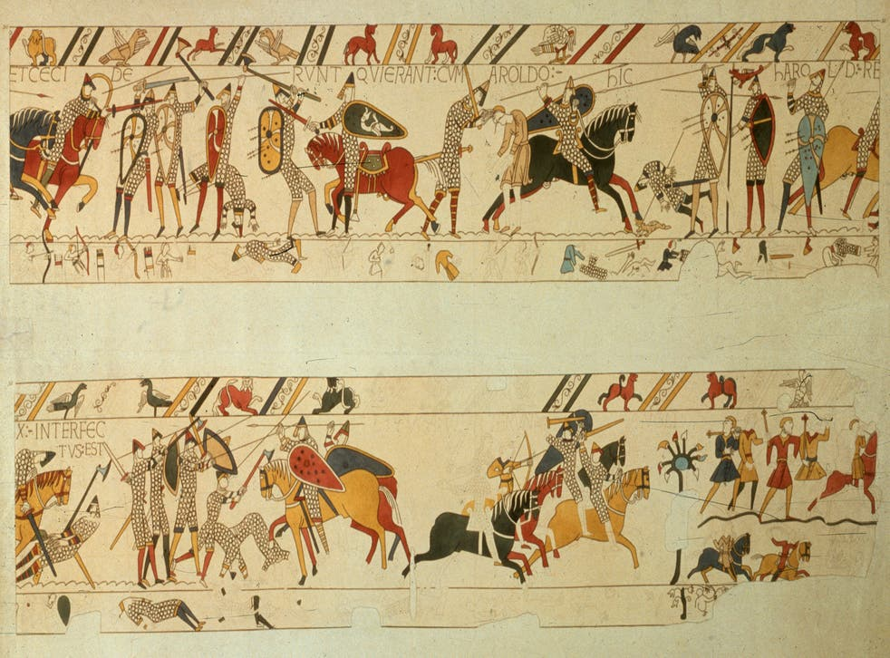 A section of the Bayeaux Tapestry showing the death of Harold II