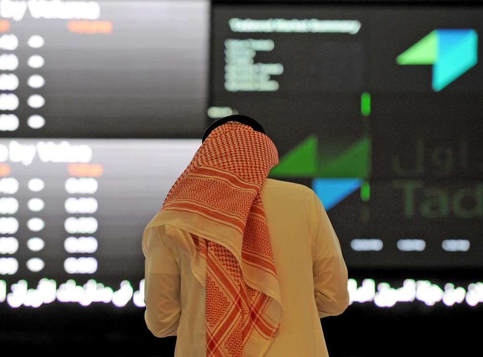 An investor at the Saudi Stock Exchange, or Tadawul, in the capital Riyadh