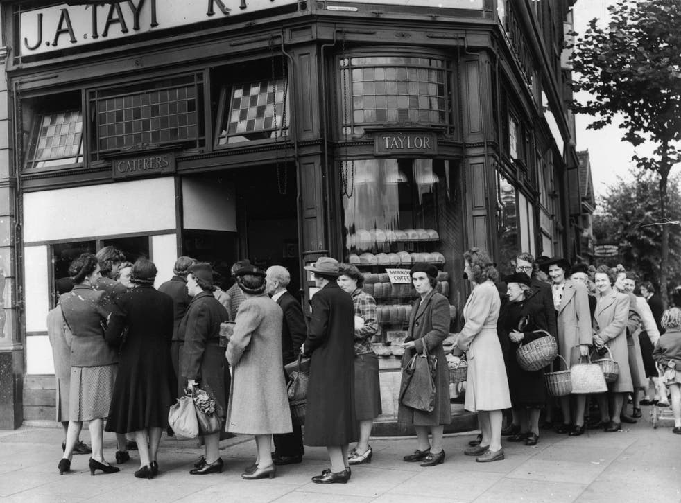 They never kept calm and carried on: queues in London on the day before bread rationing was introduced in July 1946