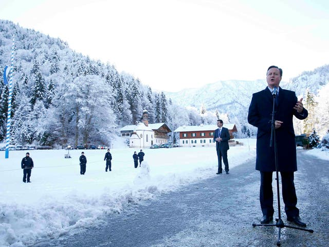 David Cameron at the Bavarian Christian Social Union's meeting in Wildbad Kreuth