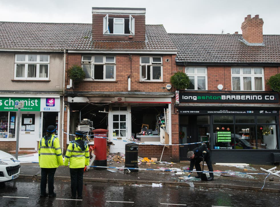 General view of the scene at the blown-up Post Office in Long Ashton, Bristol, England. January 4 2015