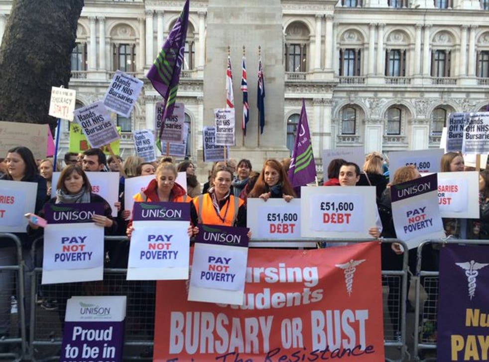 More than 500 health workers turned out for a protest against the bursary scrap on 2 December 2015
