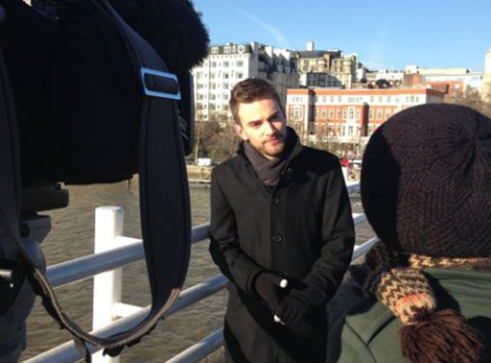Jonny Benjamin on Waterloo Bridge, where he tried to kill himself