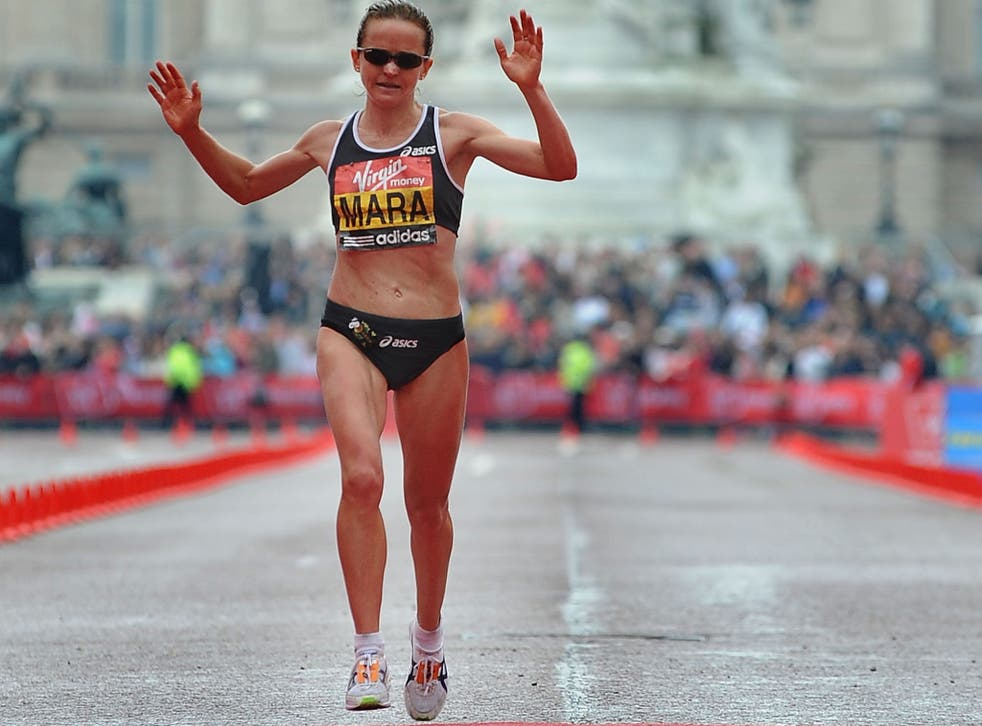 Mara Yamauchi crosses the line to finish 10th in the 2010 London Marathon, a race whose result has since been amended