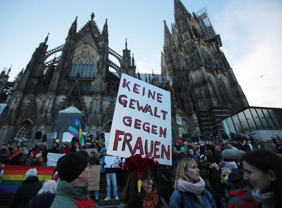 Protesters gather in Cologne after the mass attacks on New Year's Eve