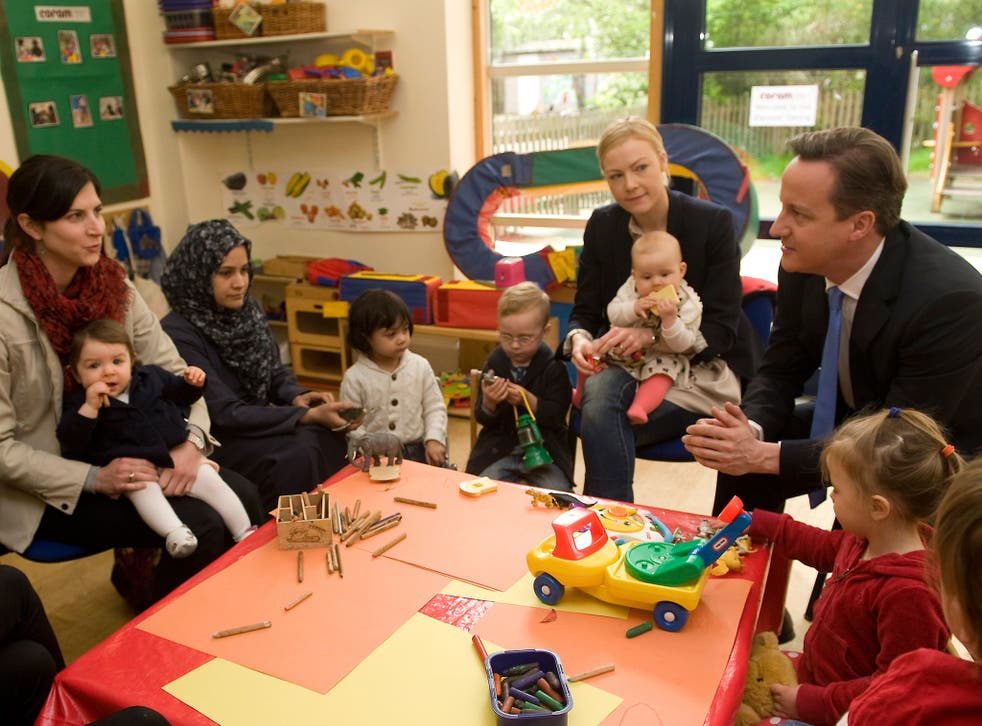 David Cameron visiting a parents' centre in London in 2012