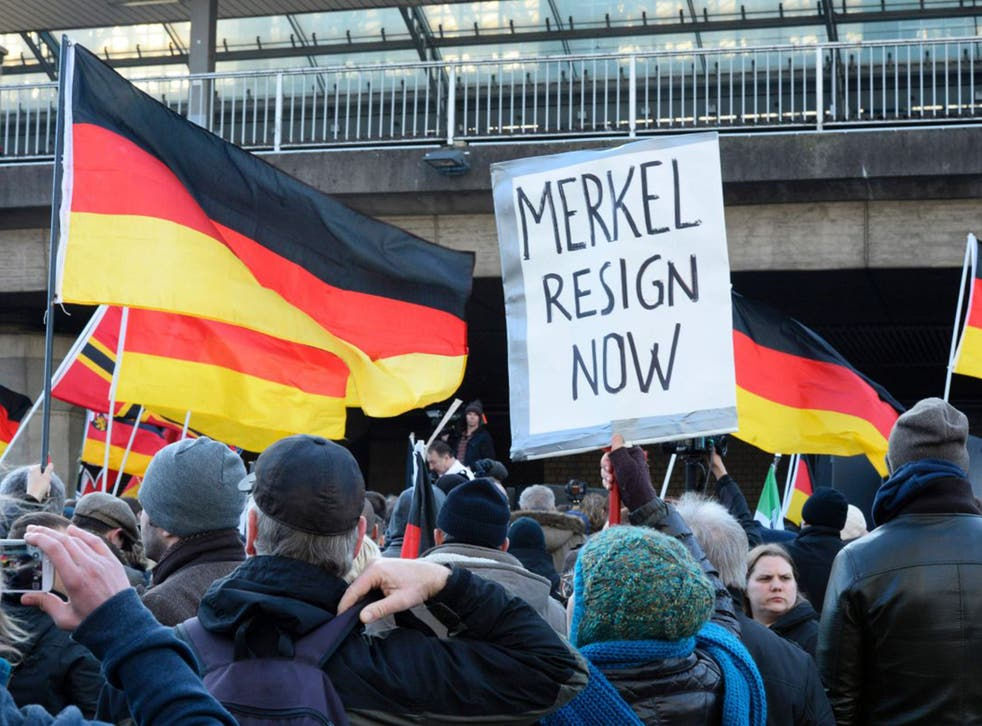 German far-right protesters at Cologne's main train station at the weekend