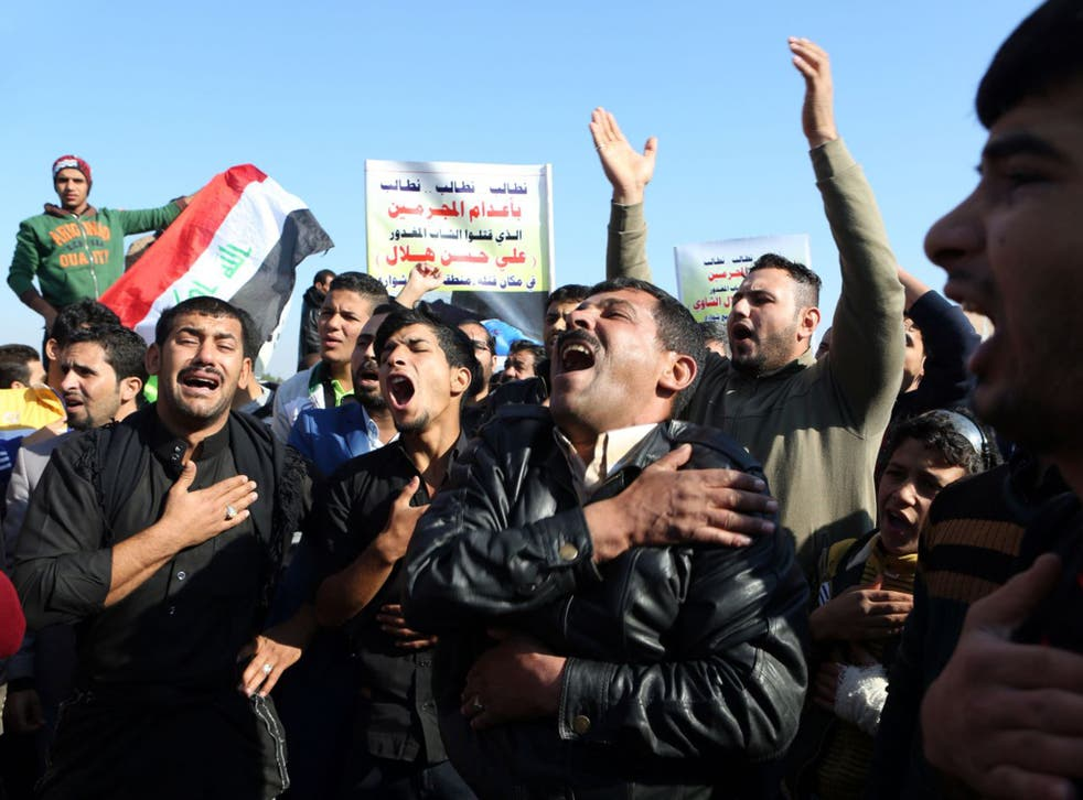 Victims of crime vent their anger at a rally in Basra
