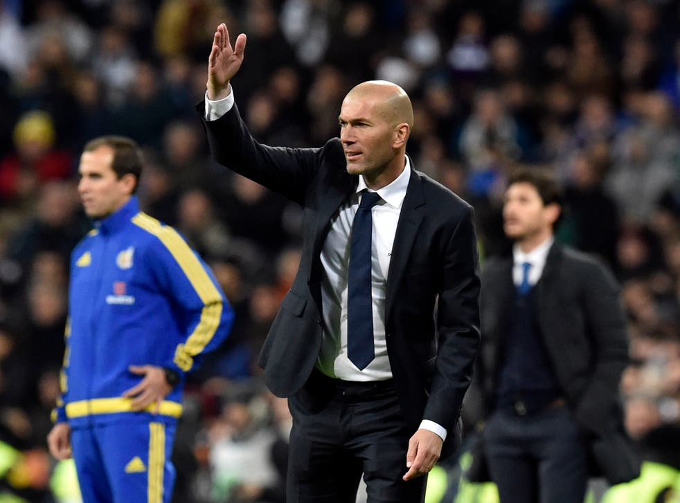 Zinedine Zidane on the sidelines during his first match as Real boss