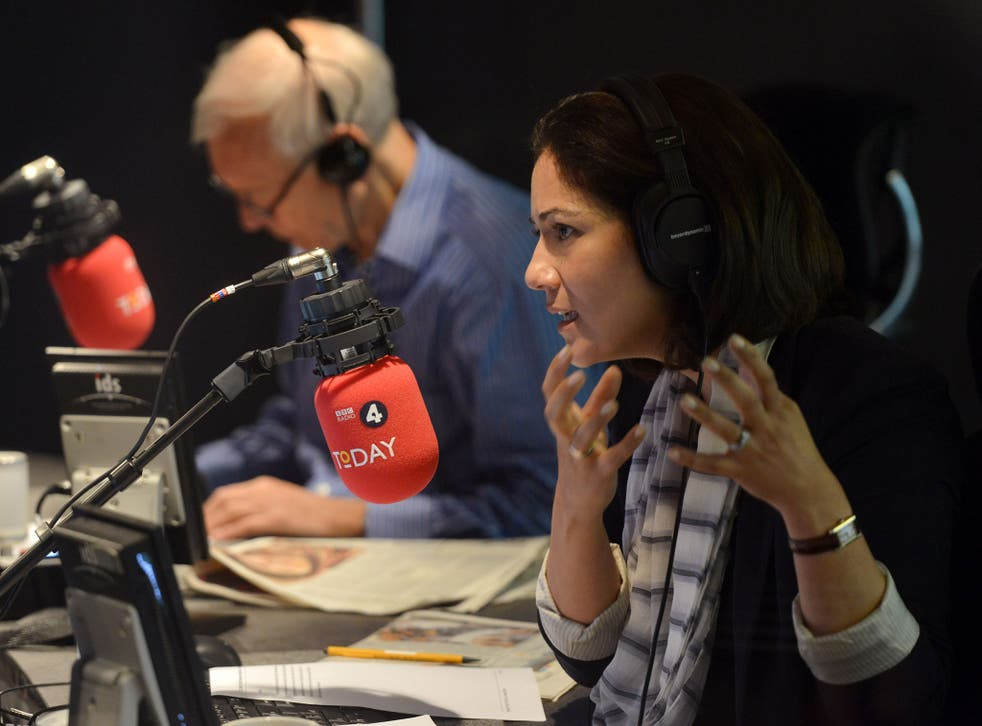 Mishal Husain, with 'Today' colleague John Humphrys