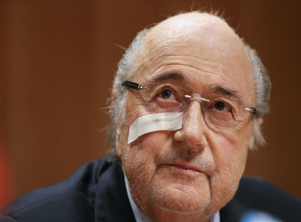Sepp Blatter appears at a press conference after his ban