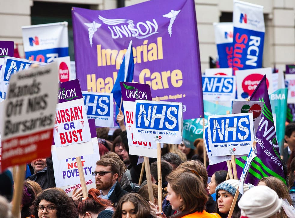 In response to George Osborne's plan to ditch bursaries and replace them with student loans for junior doctors and nurses, thousands rallied in London at the weekend