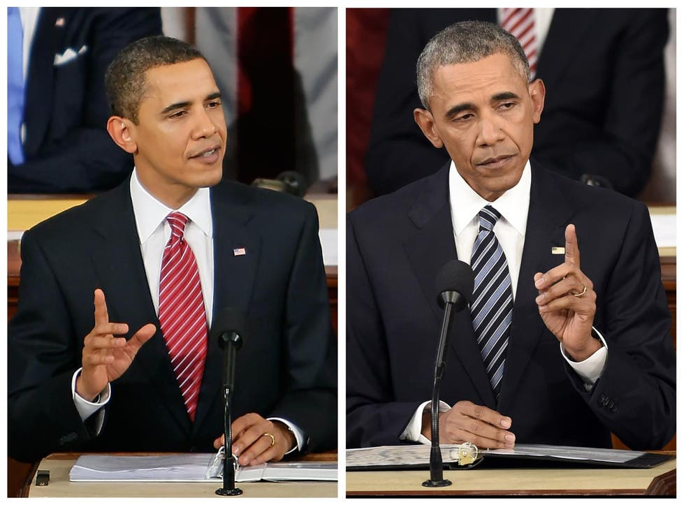 The President in 2009 (left) and in 2016 (right)