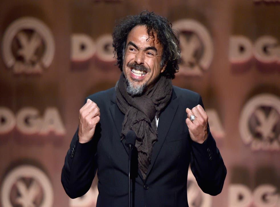 Alejandro Gonzales Inarritu winning a DGA award in 2015 for Birdman