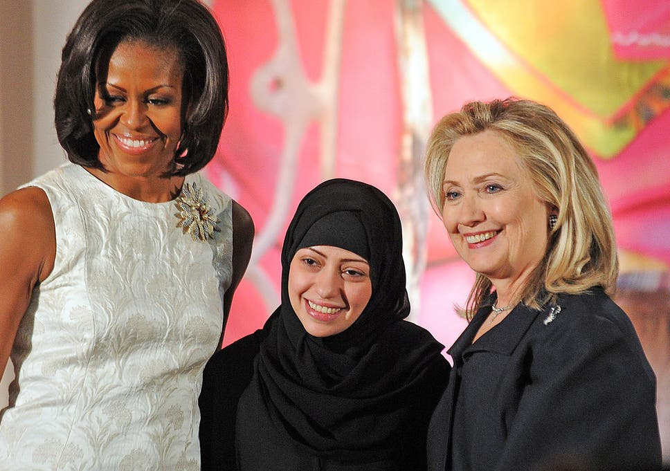 Samar Badawi with Michelle Obama and Hillary Clinton