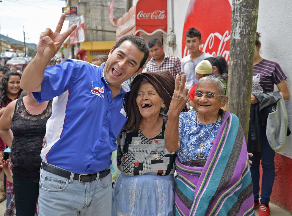 Running gag man: Jimmy Morales on the campaign trail in Guatemala last year