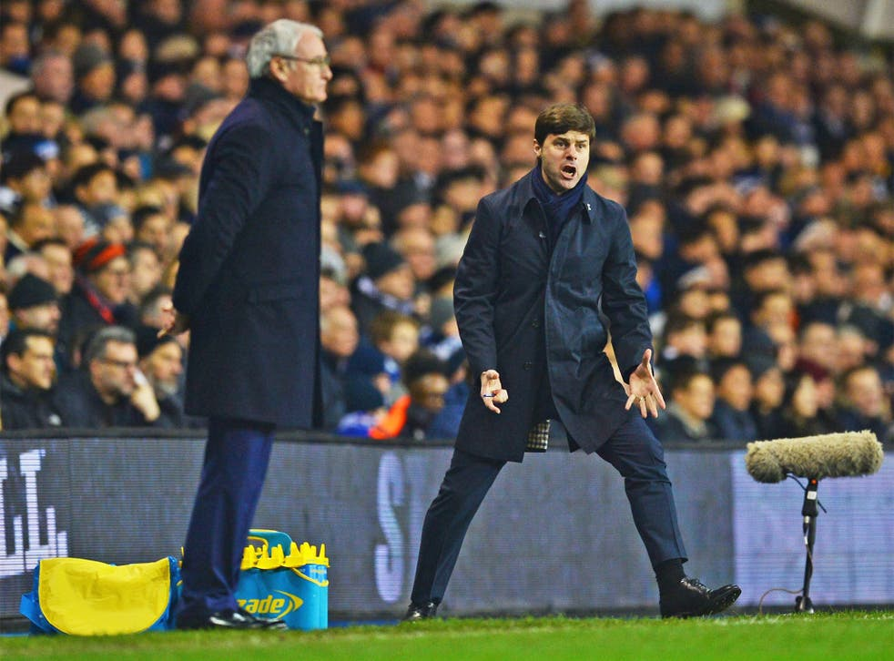 Managers Claudio Ranieri, left, and Mauricio Pochettino watch on from the touchline at White Hart Lane