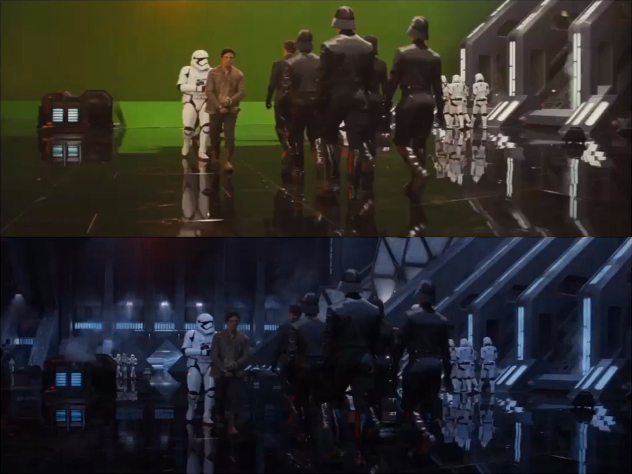 Star Wars The Force Awakens Before And After VFX Video Is - Scenes original star wars created cgi