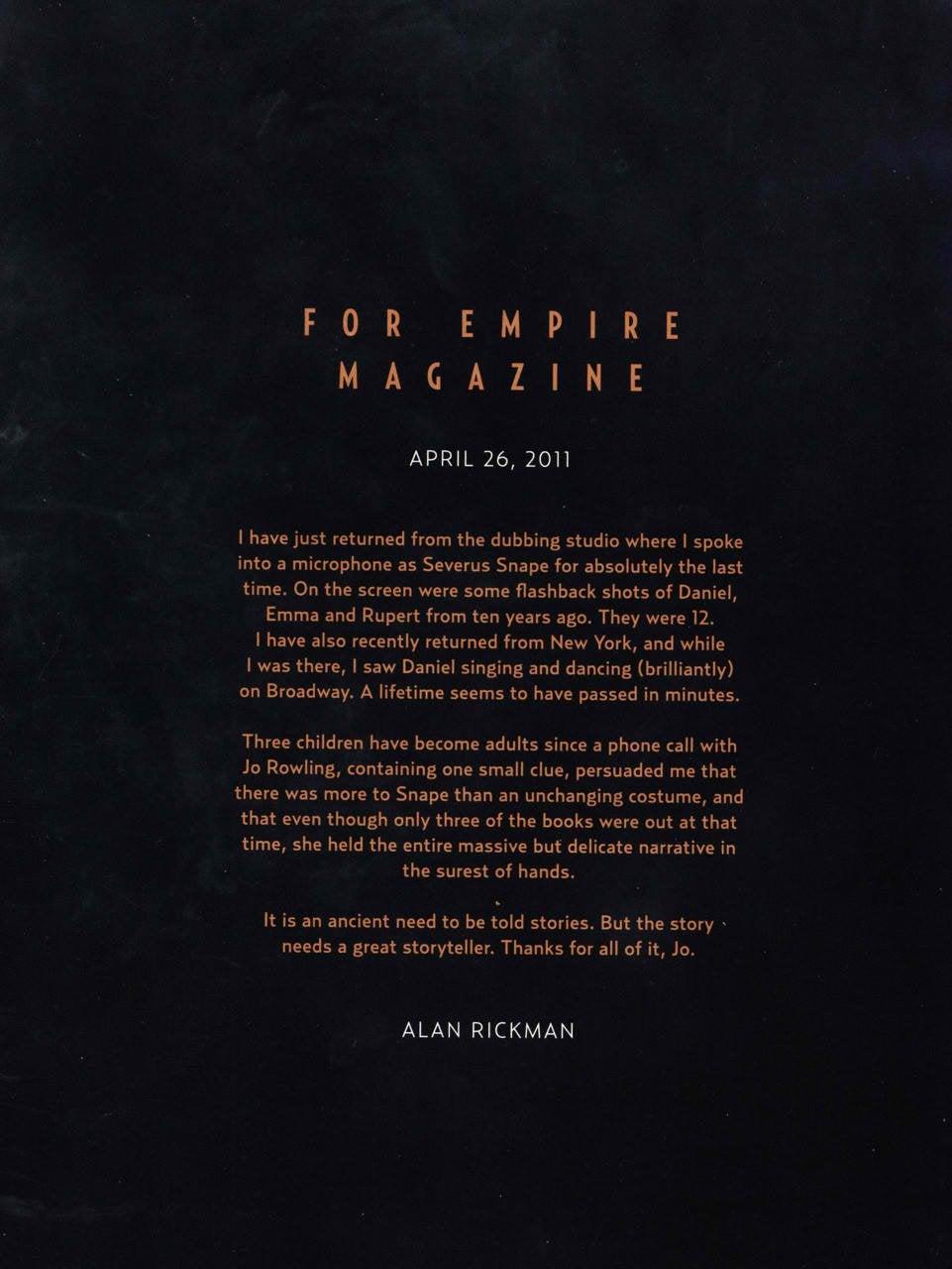 Alan Rickman: Read his heartfelt goodbye letter to Professor