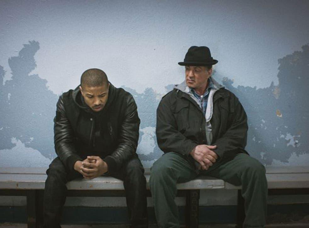 Fight club: Sylvester Stallone, right, as Rocky Balboa and Michael B Jordan as his boxing protégé Adonis Johnson