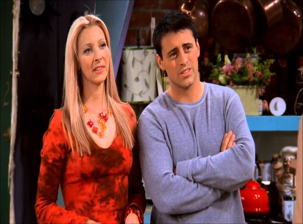 Lisa Kudrow and Matt LeBlanc as the nearly perfect couple Phoebe and Joey in Friends