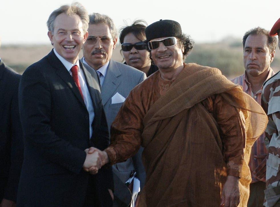 Tony Blair and Colonel Muammar Gaddafi meet in 2007