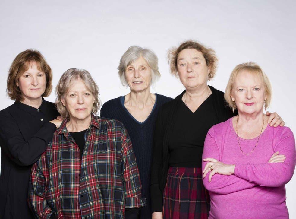 Top women: Caryl Churchill (centre) with the stars of her latest play, 'Escaped Alone', Deborah Findlay, Kika Markham, Linda Bassett and June Watson
