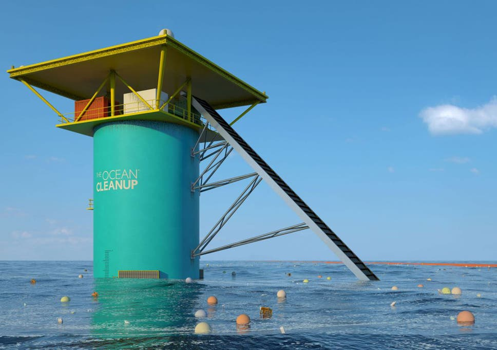 an artists impression of the ocean cleanup project which aims to remove tons of toxic