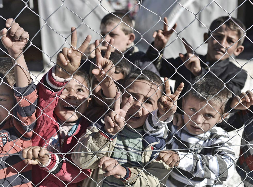 Syrian children at a refugee camp in Suruc, Turkey
