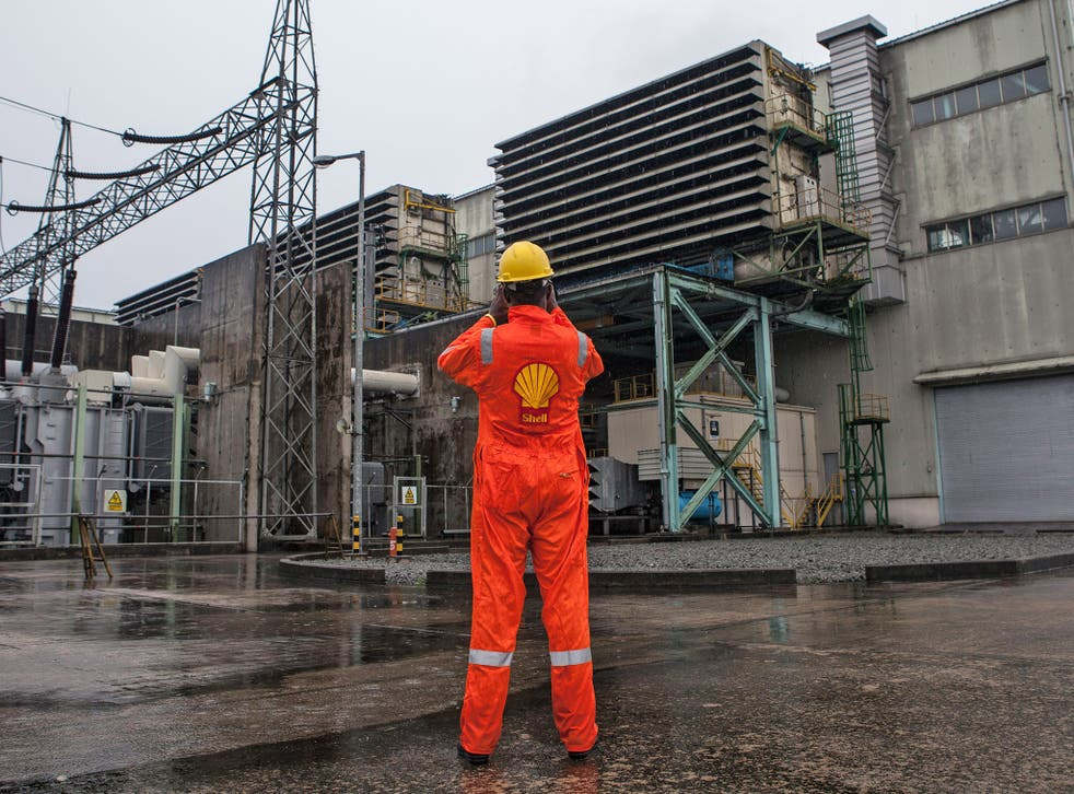 A Shell employee at a power plant in Port Harcourt, Nigeria