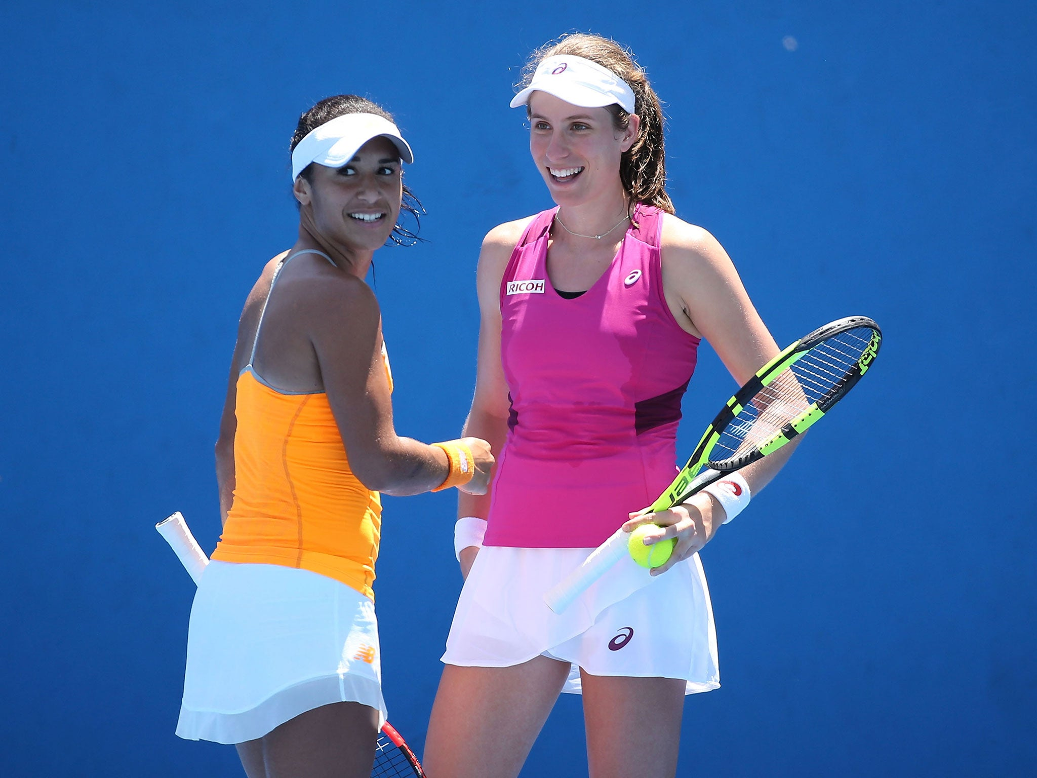 Johanna Konta and Heather Watson during the Australian Open