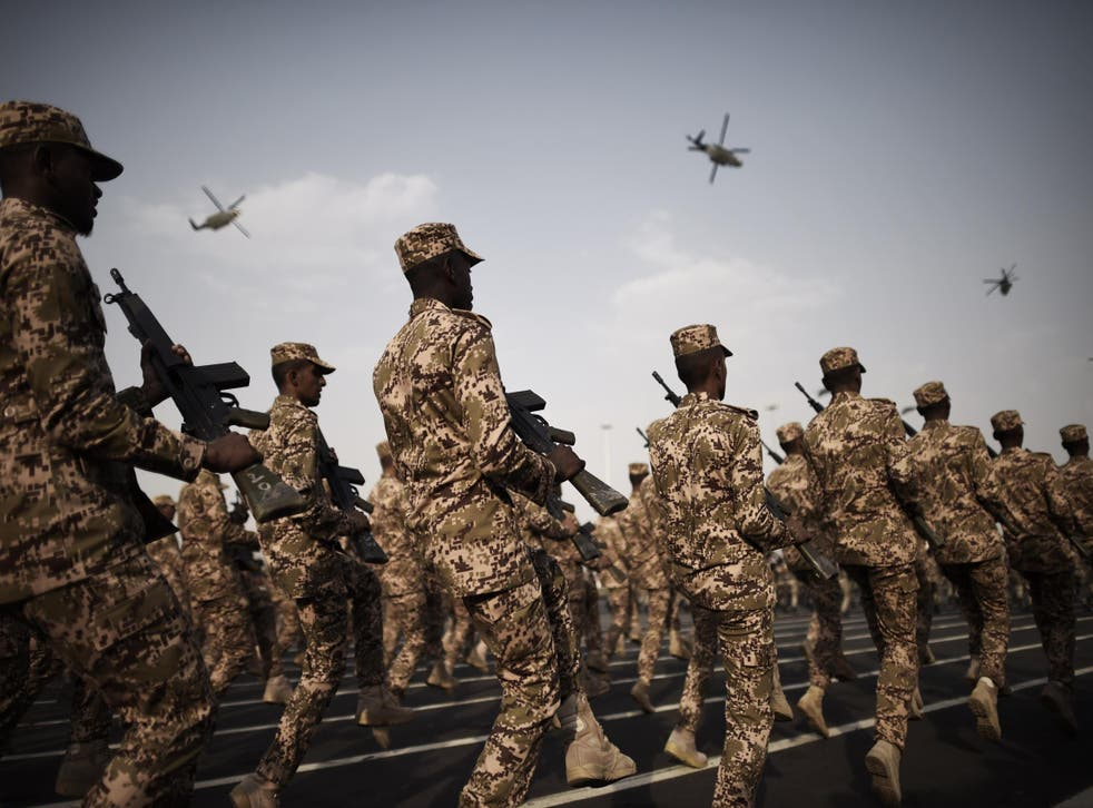 Members of the Saudi special police unit perform during a parade