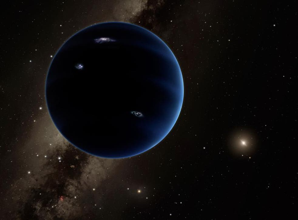 This artistic rendering shows the distant view from Planet Nine back towards the sun. The planet is thought to be gaseous, similar to Uranus and Neptune. Hypothetical lightning lights up the night side