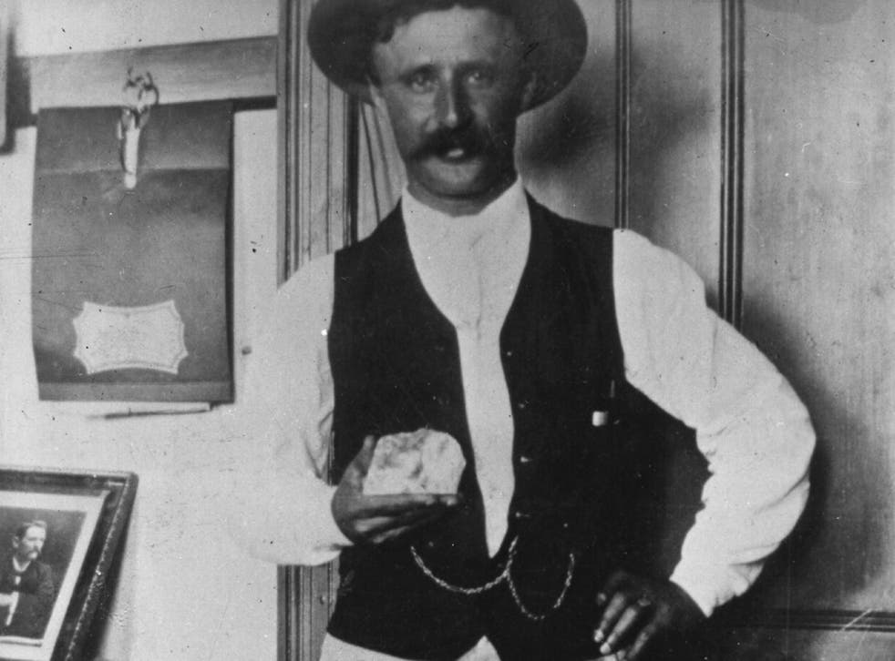 Frederick Wells with the uncut Cullinan Diamond before it sets off on its travels