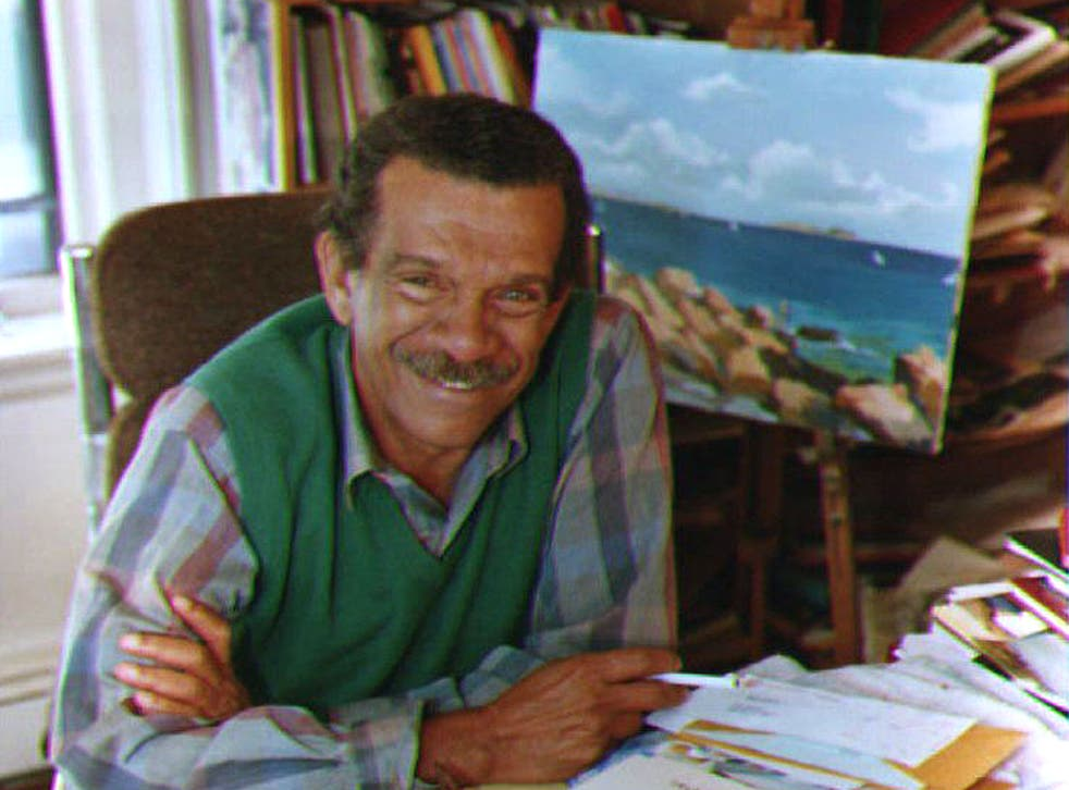Walcott in his office in Brooklyn in 1992 after winning the Nobel Prize for Literature