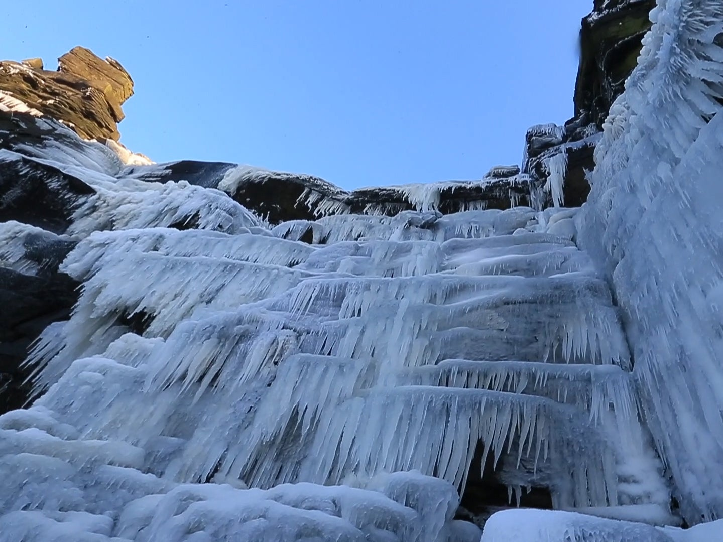 Video Shows Waterfall Completely Frozen Over Following