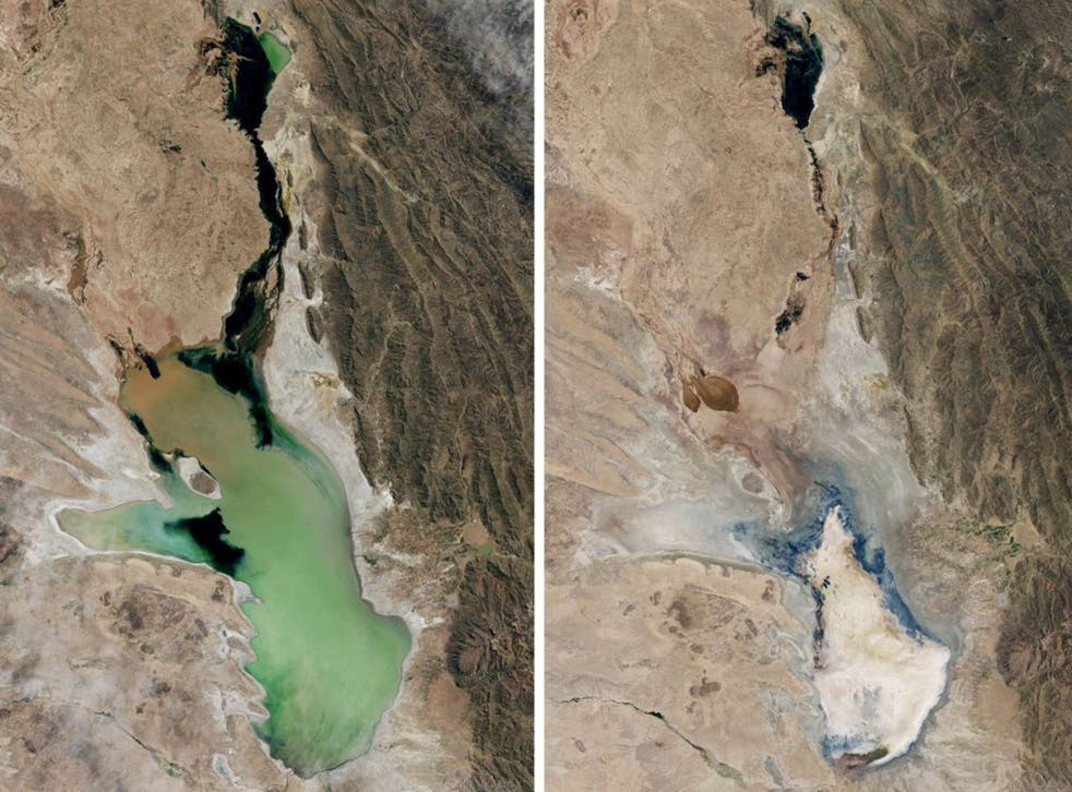 Satellite images show how much the waters around Lake Poopo have receded in just three years