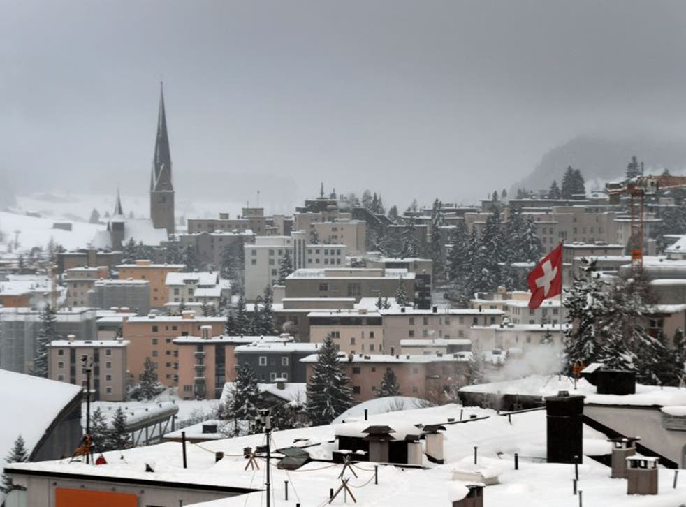 The Alpine resort of Davos is seen under show during the World Economic Forum annual meeting