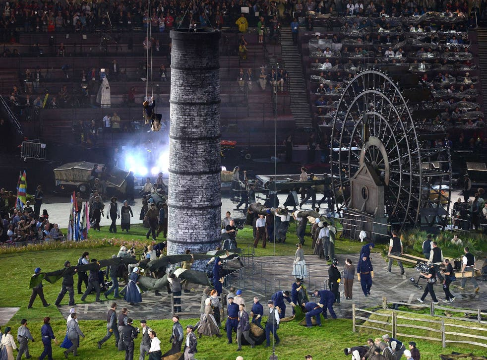 Performers showcasing the Industrial Revolution during the Opening Ceremony of the London 2012 Olympic Games
