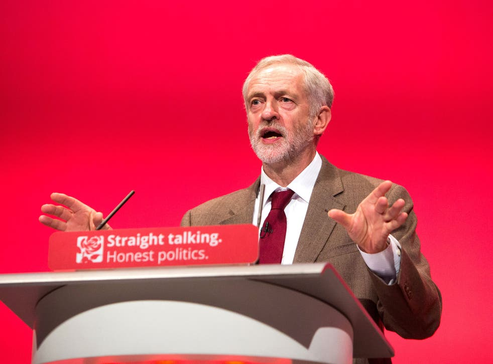 Jeremy Corbyn speaking at the Labour Party Annual Conference in Brighton in September