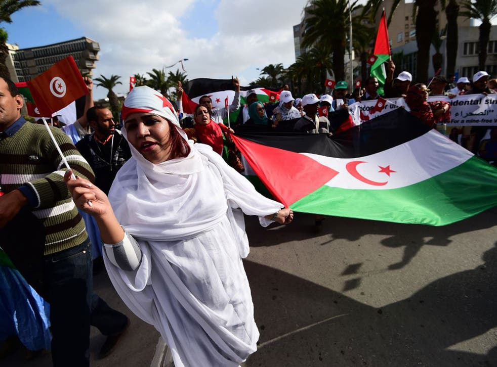 Activists for the independence of the Western Sahara wave flags and banners during a protest