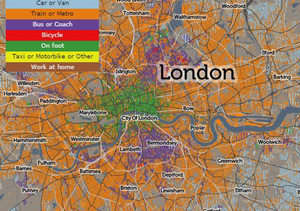 Interactive Map Of London.Londoners Preferred Method Of Travelling To Work Revealed In