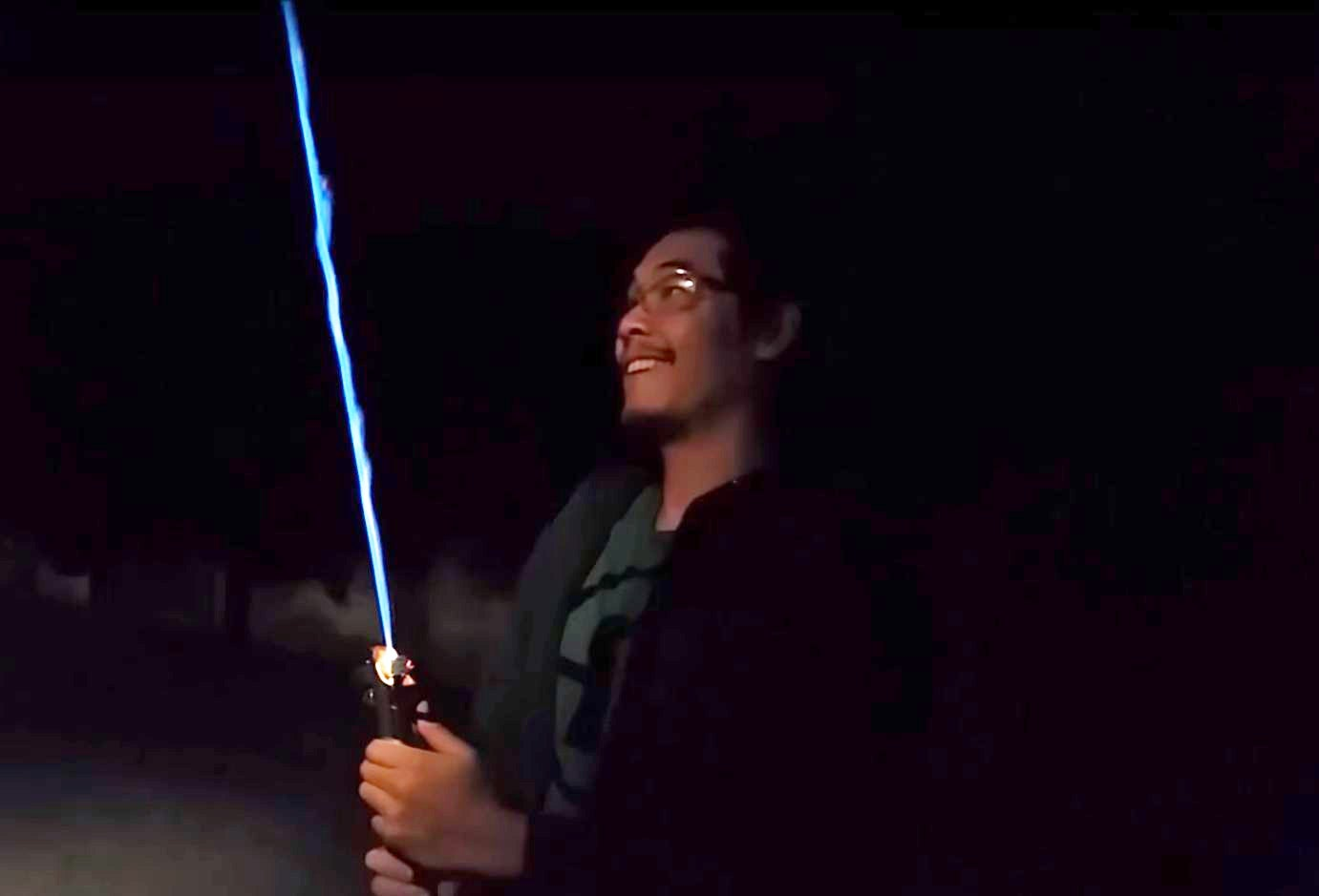 Star Wars fan makes his own lightsaber and posts YouTube video