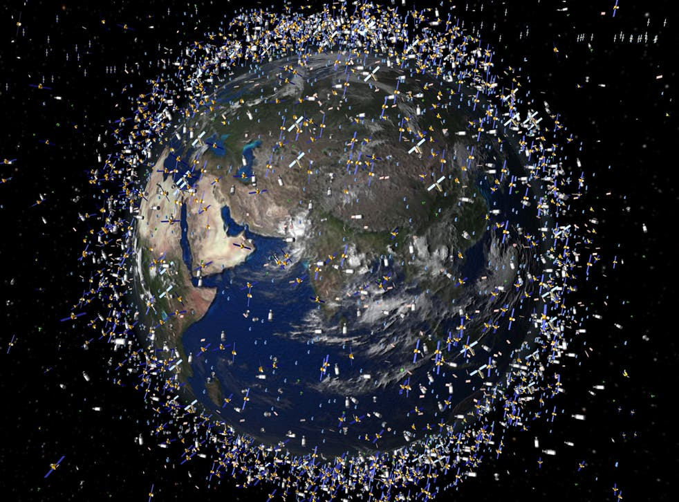 An artist's impression of the space debris in the Earth's orbit
