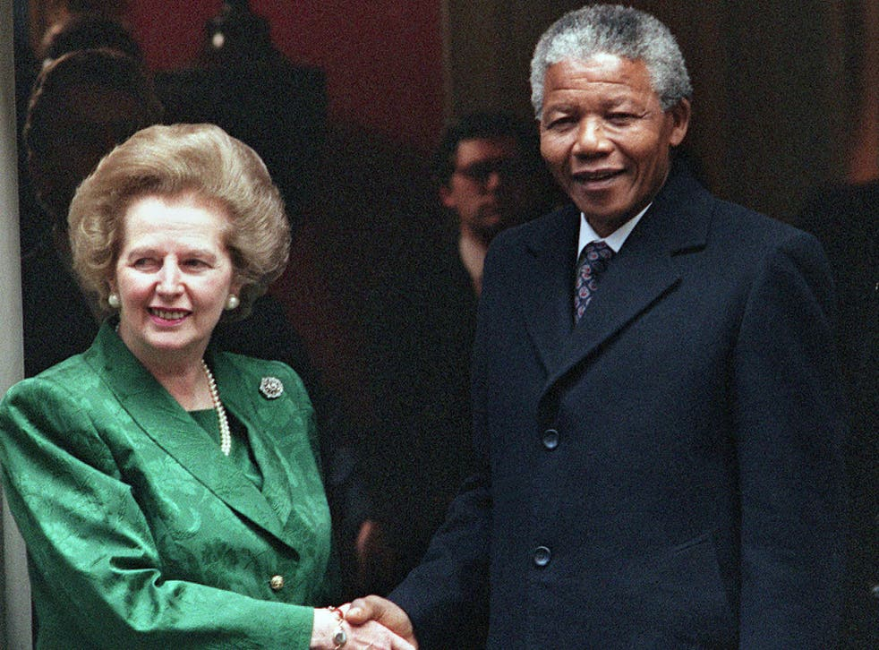 Margaret Thatcher welcomed Nelson Mandela into No 10 Downing Street shortly after his release from prison in 1990