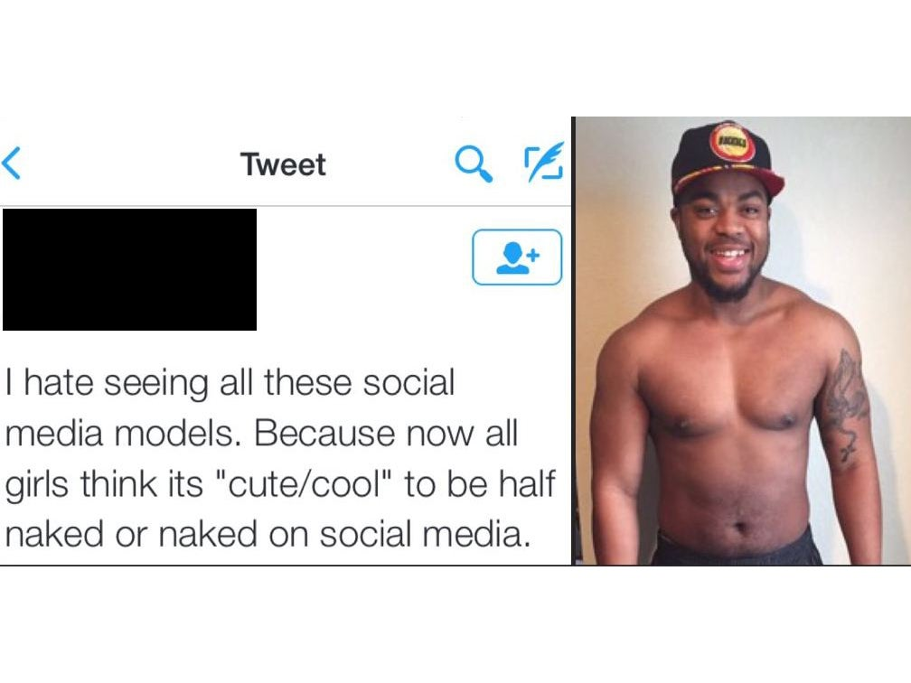 The woman highlighting the hypocrisy of shirtless selfies